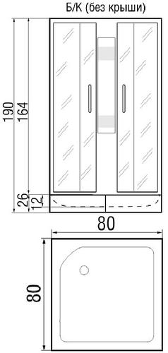 Душевая кабина River Neva 80/26 МТ без крыши 80x80