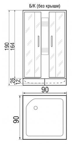Душевая кабина River Neva 90/26 МТ без крыши 90x90
