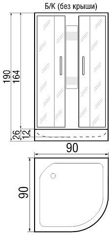 Душевая кабина River Rein Б/К 90/26 МТ 90x90