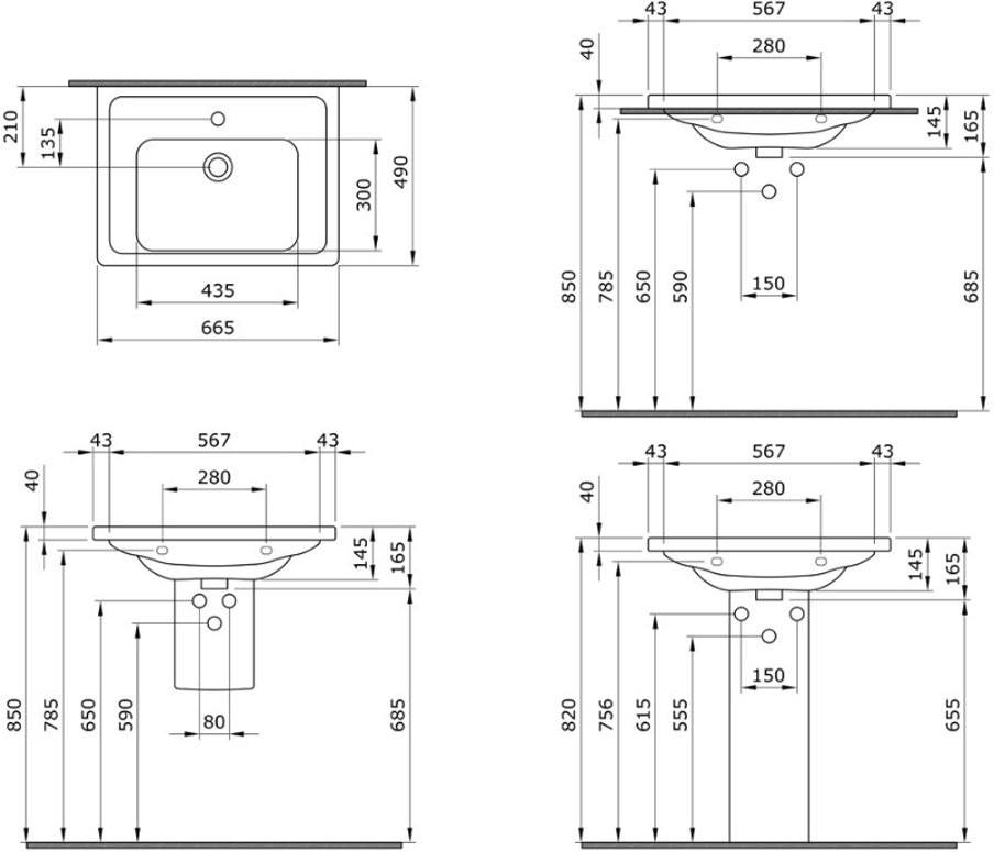 Умывальник подвесной Bocchi Taormina Pro 1007-001-0126 66,5x49