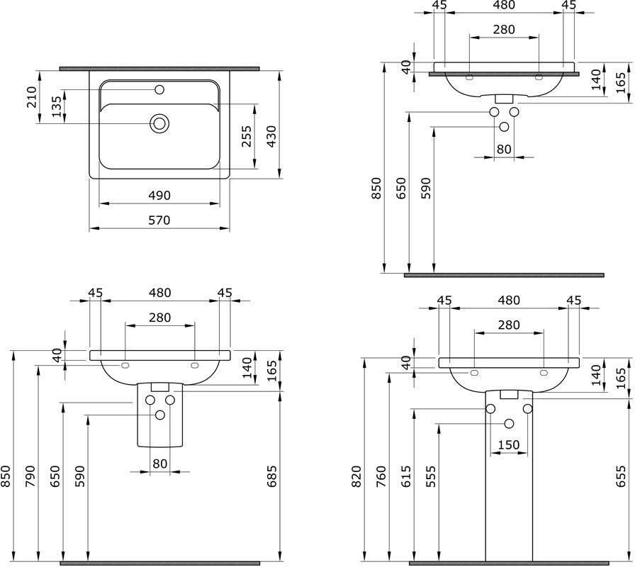 Умывальник подвесной Bocchi Taormina Pro 1004-001-0126 57x43
