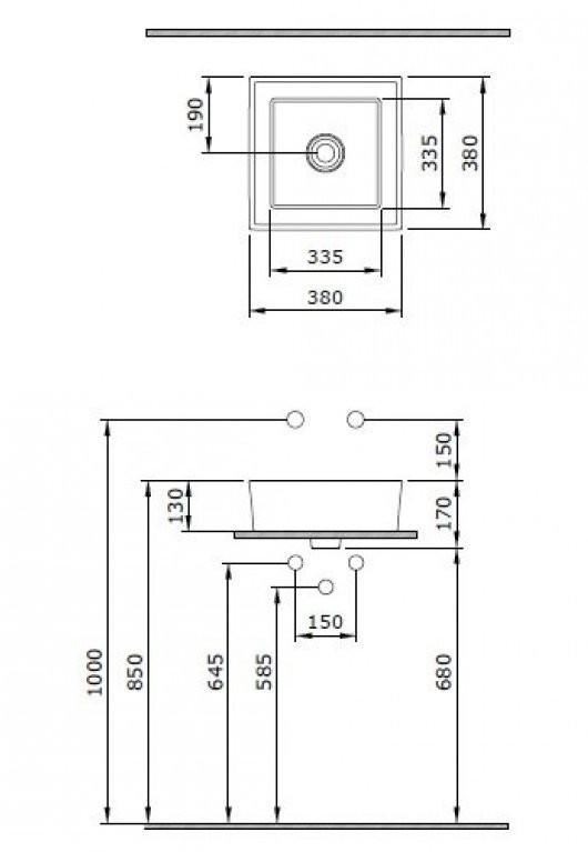 Умывальник накладной Bocchi Vessel 1173-061-0125 38x38