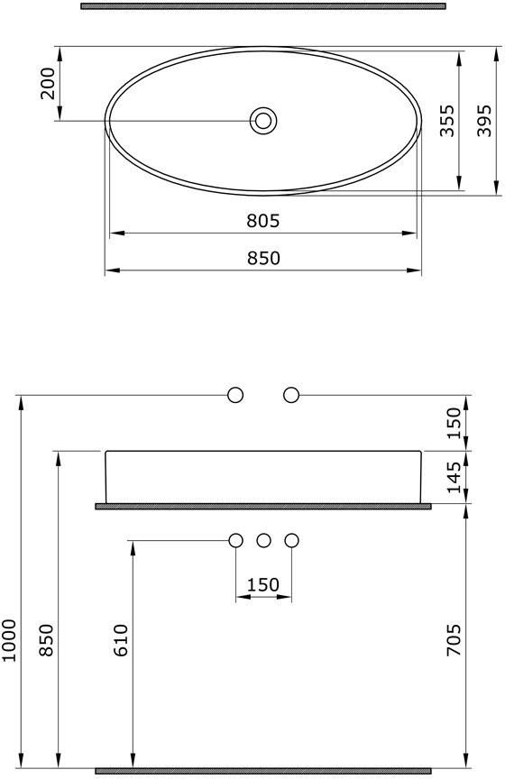 Умывальник накладной Bocchi Vessel 1014-001-0125 85x39,5