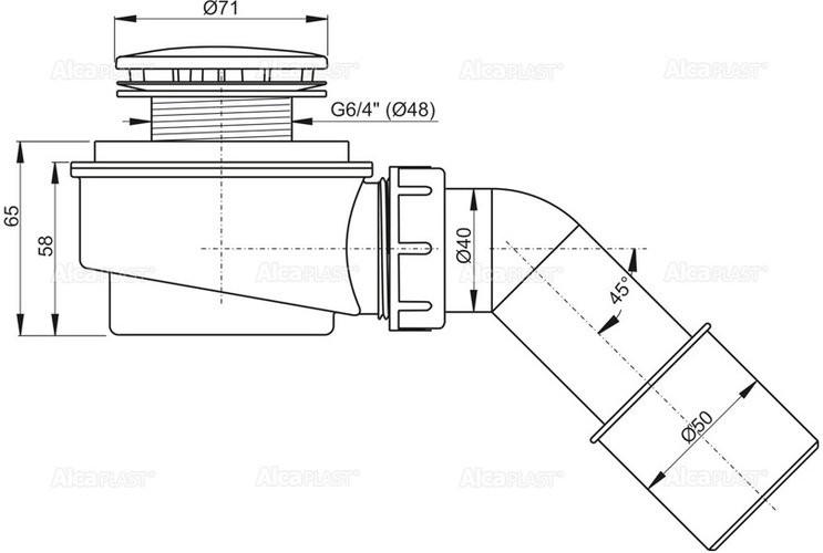 Сифон для душевого поддона Alcaplast A471CR-50