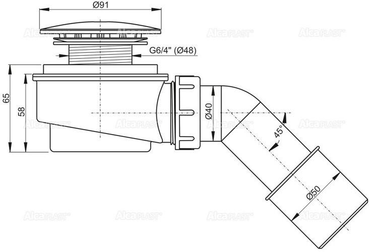 Сифон для душевого поддона Alcaplast A471CR-60