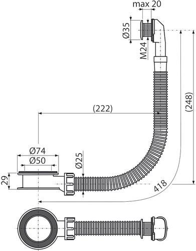 Слив-перелив для умывальника Alcaplast A328CR