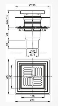 Сливной трап Alcaplast 150х150/50/75 APV4444