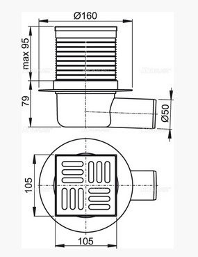 Сливной трап Alcaplast 105х105/50 APV1