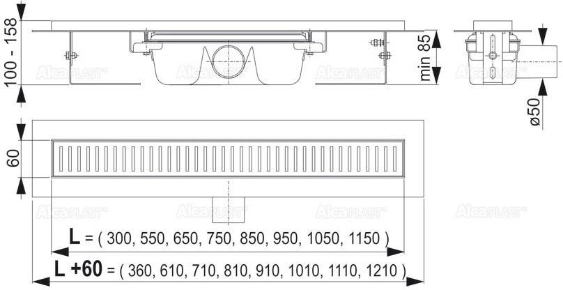 Водоотводящий желоб Alcaplast APZ1-1150