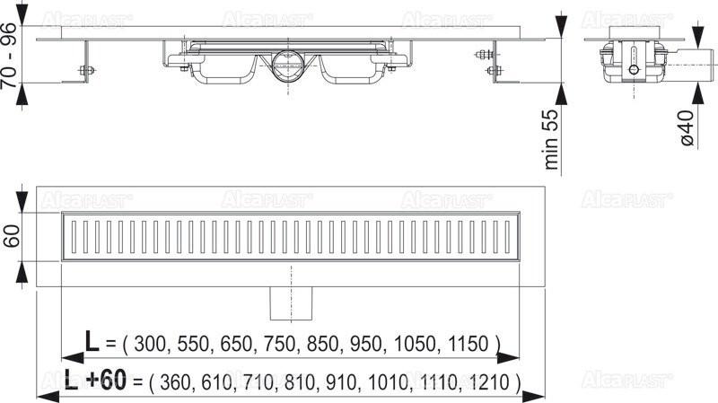 Водоотводящий желоб Alcaplast APZ101-950 Low