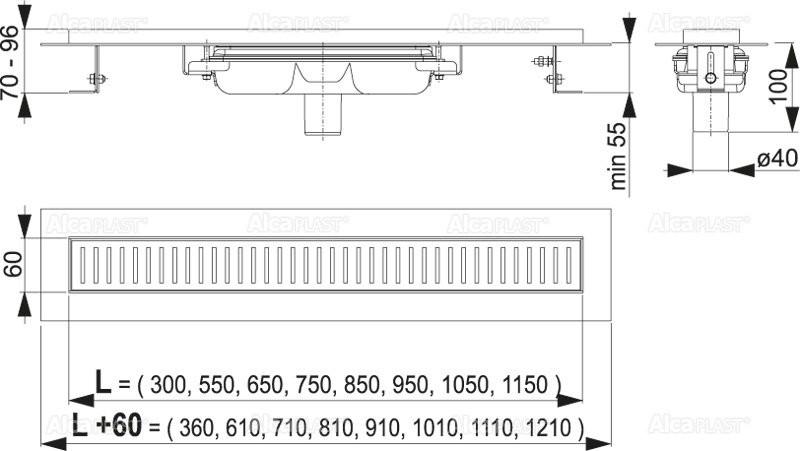 Водоотводящий желоб Alcaplast APZ1101-550