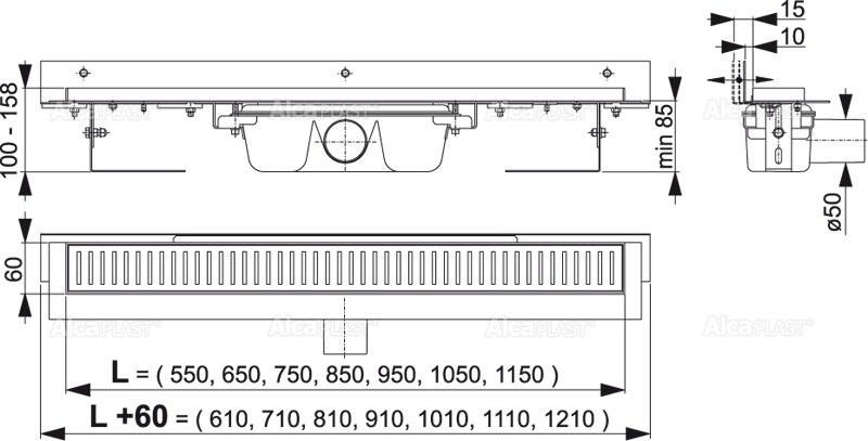 Водоотводящий желоб Alcaplast APZ4-850 Flexible