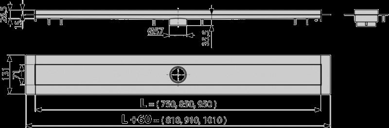 Водоотводящий желоб APZ13 с решеткой STREAM - 950 мм