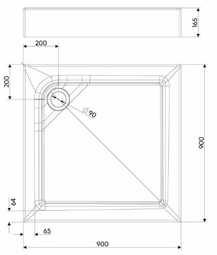 Душевой поддон Kolo First 90х90 см с интегрированной панелью (XBK1690000)