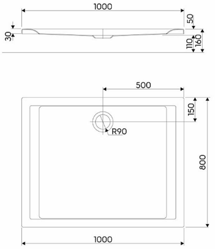 Душевой поддон Kolo Pacyfik 100x80 см (XBP0718000)