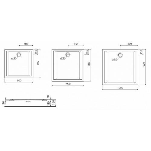 Душевой поддон Kolo Pacyfik 80x80 см (XBK0780000)