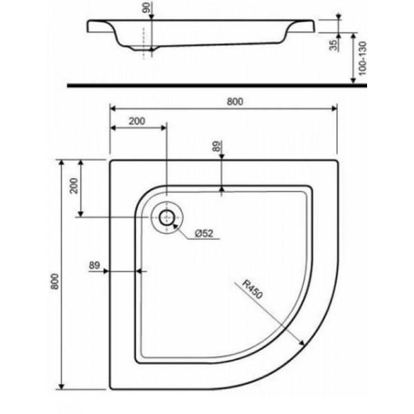 Душевой поддон Kolo Standart Plus 80x80 см (XBN1580000)