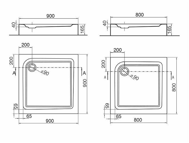 Душевой поддон Kolo First 80х80 см с интегрированной панелью (XBK1680000)
