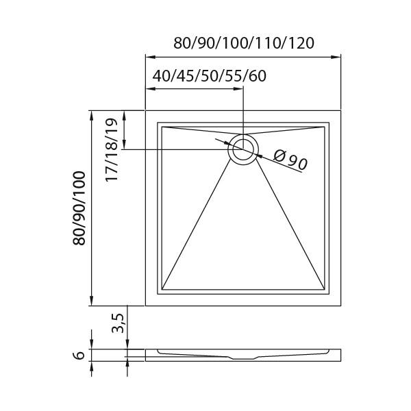 Душевой поддон New Trendy Cantare 90x90 см (B-0137)