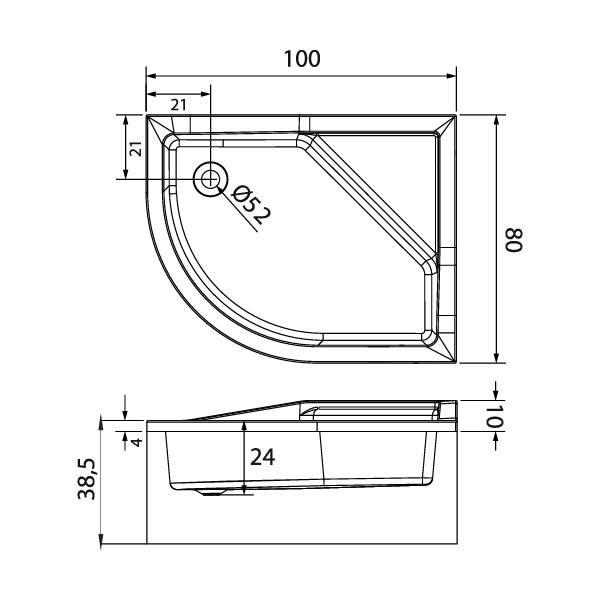 Душевой поддон New Trendy Maxima Л 100x80 см (B-0367)