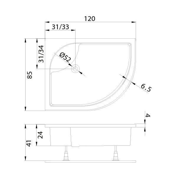 Душевой поддон New Trendy New Maxima Л 120x85 см (B-0120)