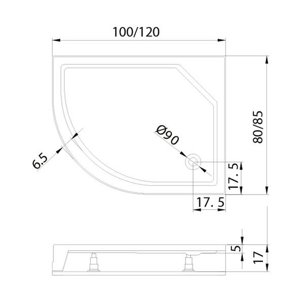Душевой поддон New Trendy New Maxima Л 120x85x17 см (B-0340)