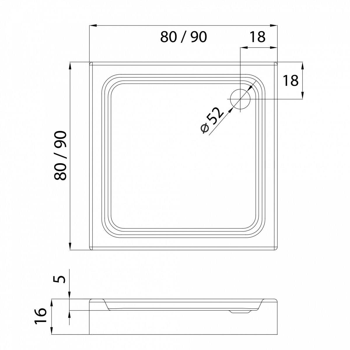Душевой поддон New Trendy квадратный 80x80 см глубина 5 см, на ножках (BL-0031)
