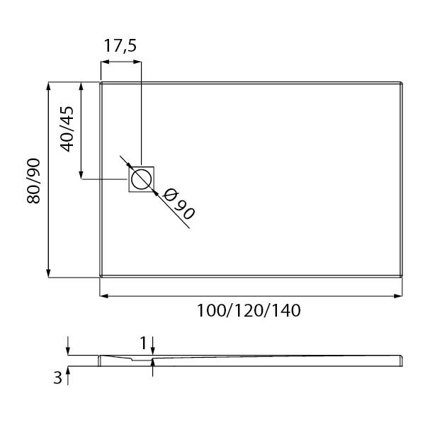 Душевой поддон New Trendy Mori 120x90x3,5 серый (B-0399)