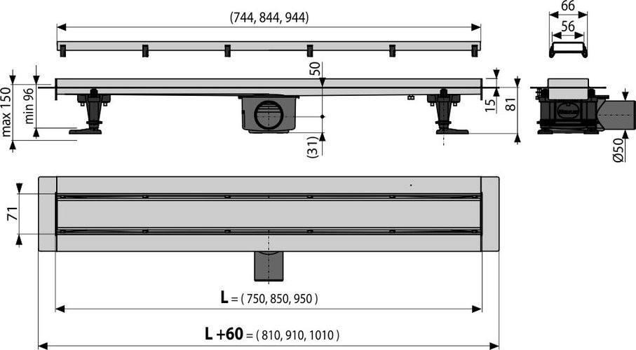 Водоотводящий желоб с решеткой Alcaplast APZ13-DOUBLE-9-850