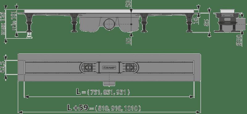 Водоотводящий желоб Alcaplast APZ22-850 с решеткой Tile-850