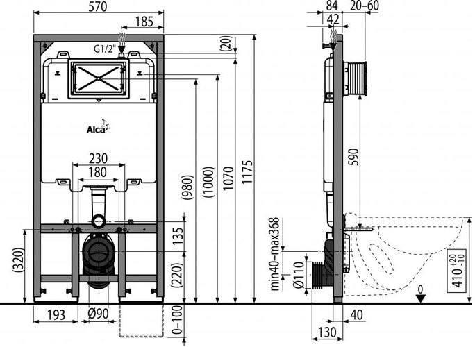 Инсталляция ALCAPLAST AM1101/1200 Sadroмodul Sliм