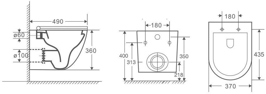 Унитаз подвесной OWL Vind Cirkel-H 49x37 безободковый, сиденье Duroplast