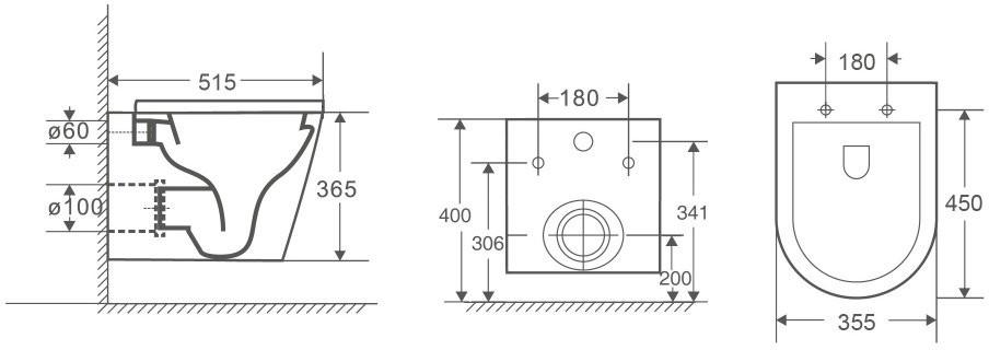 Унитаз подвесной OWL Vind Ruta-H 51,5x35,5 безободковый, сиденье Duroplast