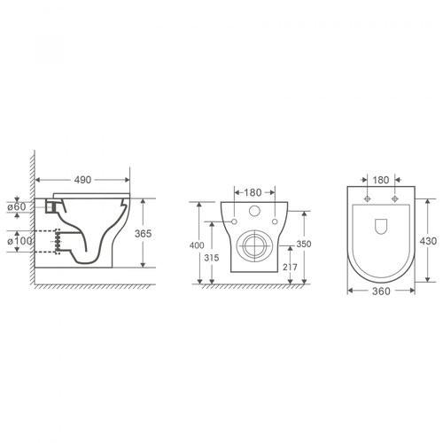 Унитаз подвесной OWL Tid Cirkel-H 49x36 безободковый, сиденье Duroplast
