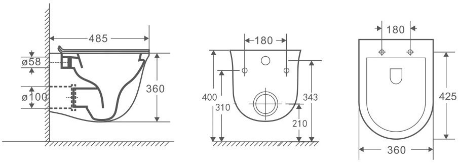 Унитаз подвесной OWL Eter Cirkel-H 48,5x36 безободковый, сиденье Duroplast