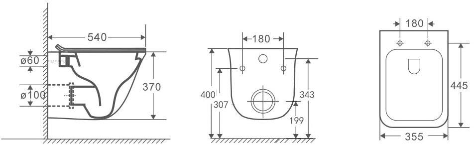 Унитаз подвесной OWL Eter Ruta-H 51x35,5 безободковый, сиденье Duroplast