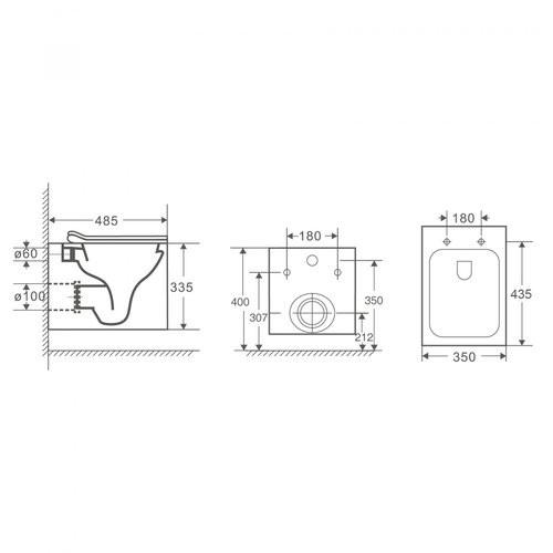 Унитаз подвесной OWL Cube Cirkel-H 48,5x35 безободковый, сиденье Duroplast