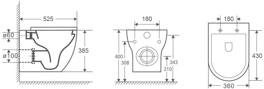 Унитаз подвесной OWL Wave Cirkel-H 52,5x36 безободковый, сиденье Duroplast