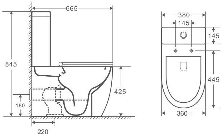 Унитаз-компакт OWL Vind Cirkel-GL 66,5x38 сиденье Duroplast с микролифтом