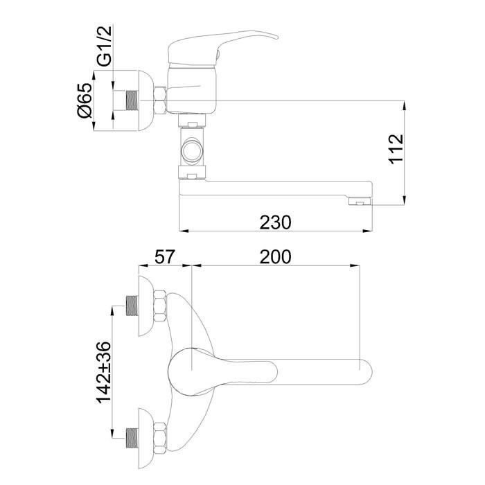 Смеситель для ванны и душа Rubineta P-12/C Star 20