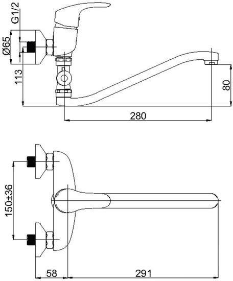 Смеситель для ванны и душа Rubineta Tornado-12/G