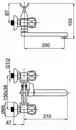 Смеситель для ванны и душа Rubineta Milano-1 K C-20