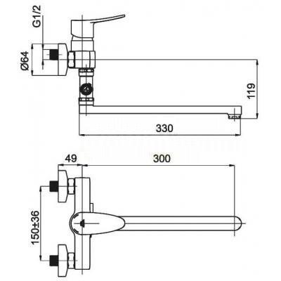 Смеситель для ванны и душа Rubineta Static-12/C (N)