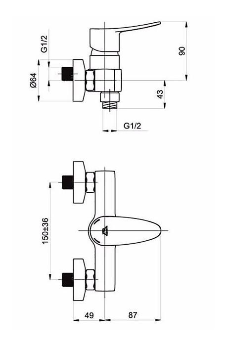 Смеситель для душа Rubineta Static-12/K(N)