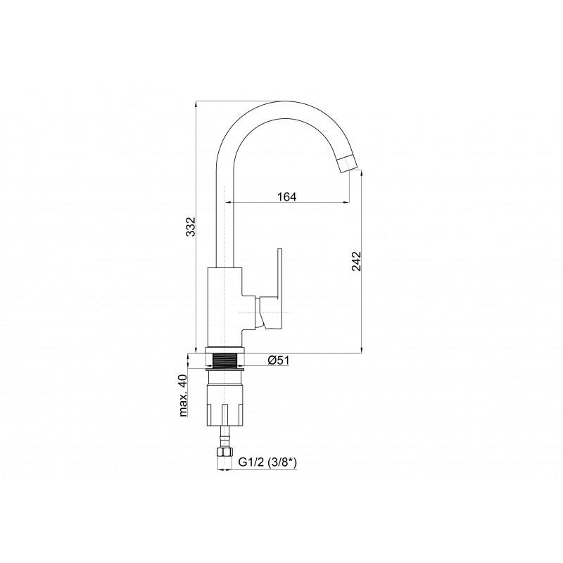 Смеситель для кухни Rubineta Axe-33 BG