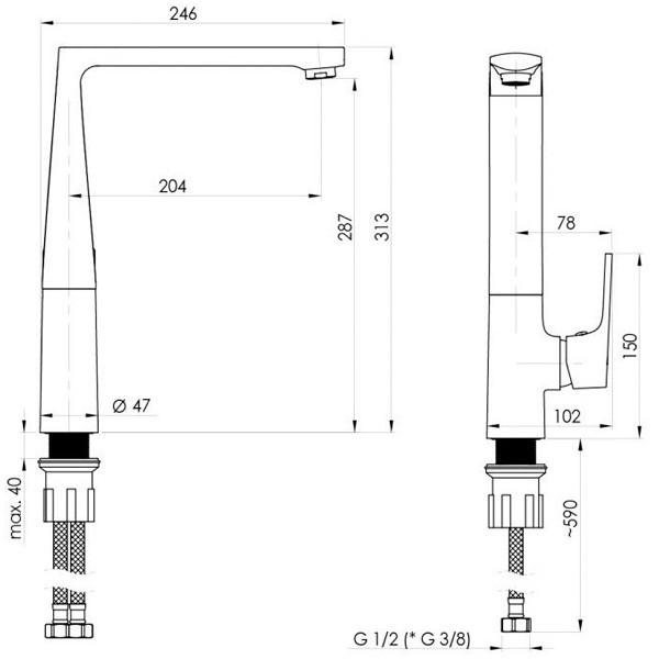 Смеситель для кухни Rubineta Modena-33