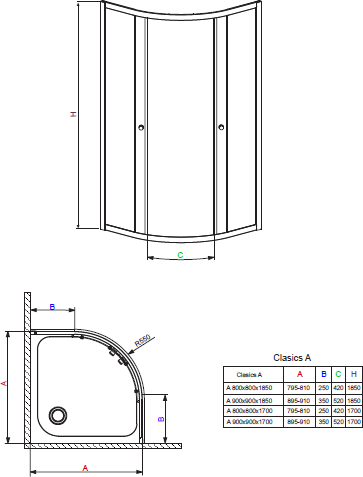 Душевой уголок Radaway Classic A 1850 90x90x185 хром/фабрик
