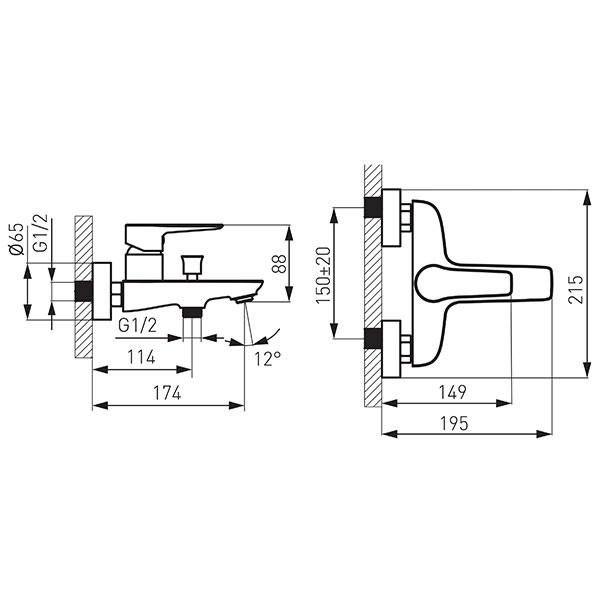 Смеситель для ванны Ferro Adore White/Chrome BDR1