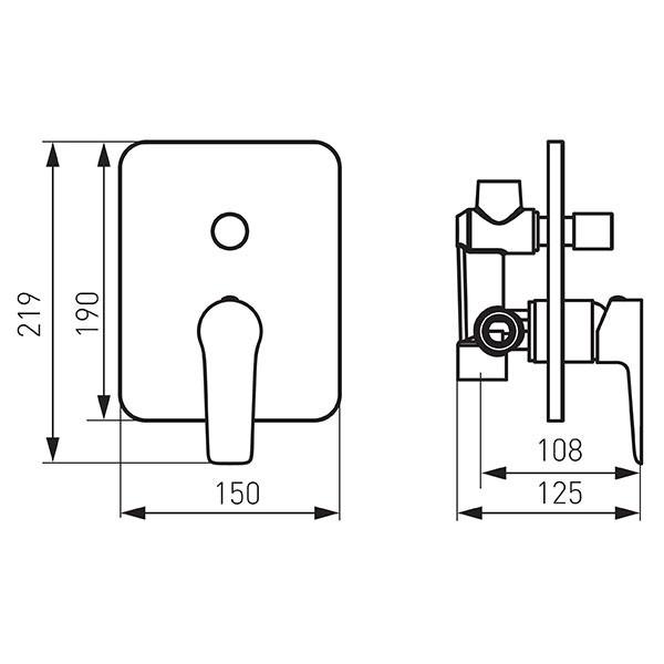 Смеситель для ванны Ferro Adore Black/Chrome BDR7PBLC
