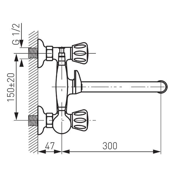 Смеситель для ванны и душа Ferro Standard BST11A